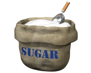 Bag of sugar with a big scoop.