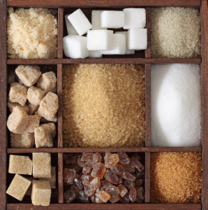 A box of many kinds of sugars.