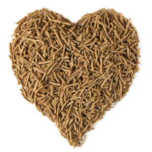 A heart shaped pile of bran fiber.