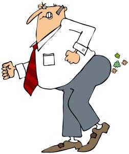 Cartoon man passing gas because of IBS.