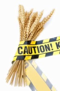 Caution tape around wheat for wheat sensitivity