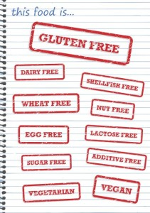 Rubber stamp vectors of allergy products such as gluten dairy and sugar free
