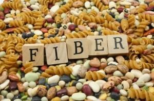 Picture of high fiber foods and a sign that says fiber.