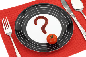 Plate with a tomato and a question mark. FODMAP Diet.